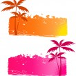 Stock Vector: Grungy backgrounds with palm trees