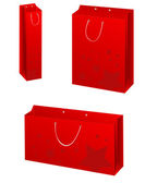 Vector red paper bags set — Stock Vector
