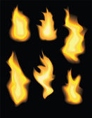 Set of realistic vector fire flames — Stock Vector