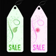 Two grunge florals sale shop tags. — Stockvectorbeeld