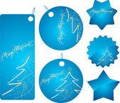 Blue christmas shopping badges — Stock Vector