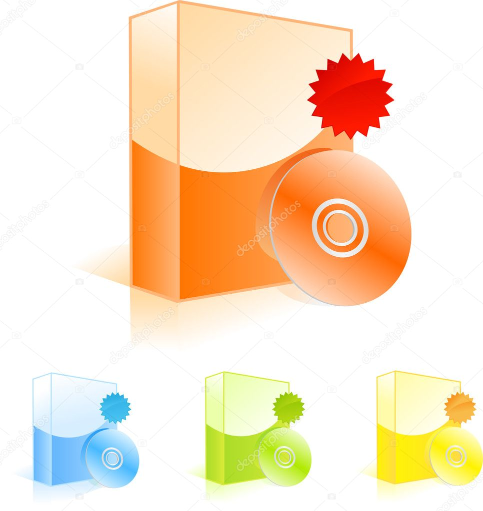 Multicolored software boxes with CD disk and discount labels — Stock Vector #1274351