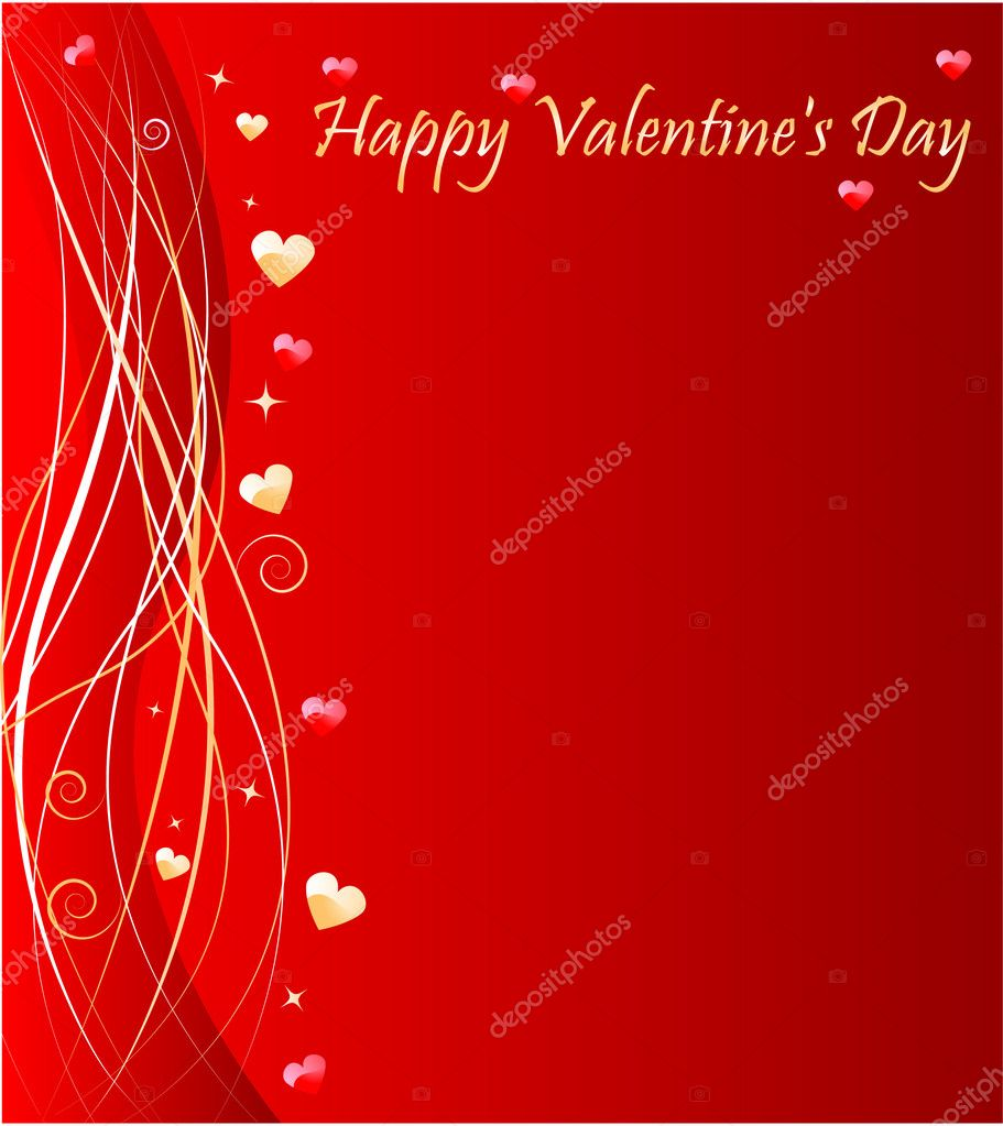 Valentine's day background with wave design and hearts — Stock Vector #1428803