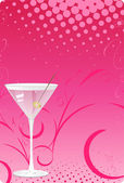 Martini glass on pink halftone back — Stock Vector