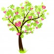 Stock Vector: Valentine's day tree with hearts