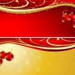 Kerstmis achtergrond rood en goud — Stockfoto