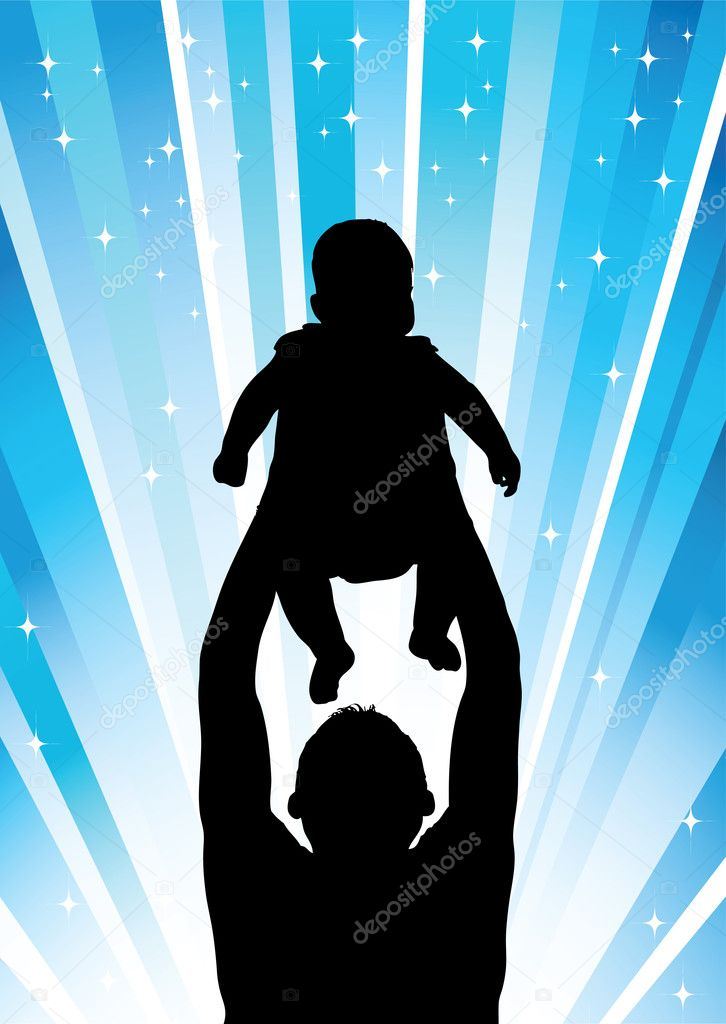Silhouette of the father of  holding child on hands — Stock Photo #1024873