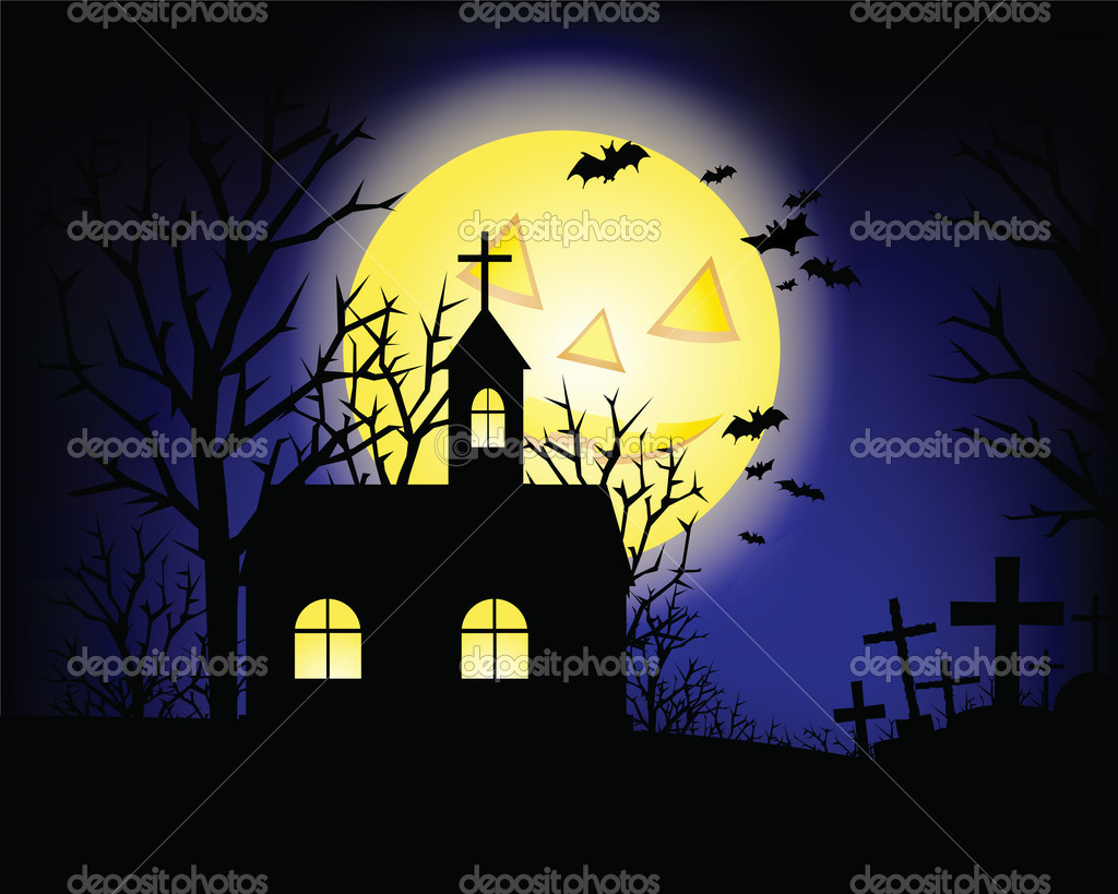 Halloween grunge background with grass bat and hunting house — Stock Photo #1028081