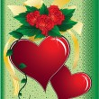 Hearts, roses and bow on a green backgro — Stock Photo