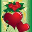 Royalty-Free Stock Photo: Hearts, roses and bow on a green backgro