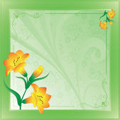 Scope with lilies on green — Stock Photo
