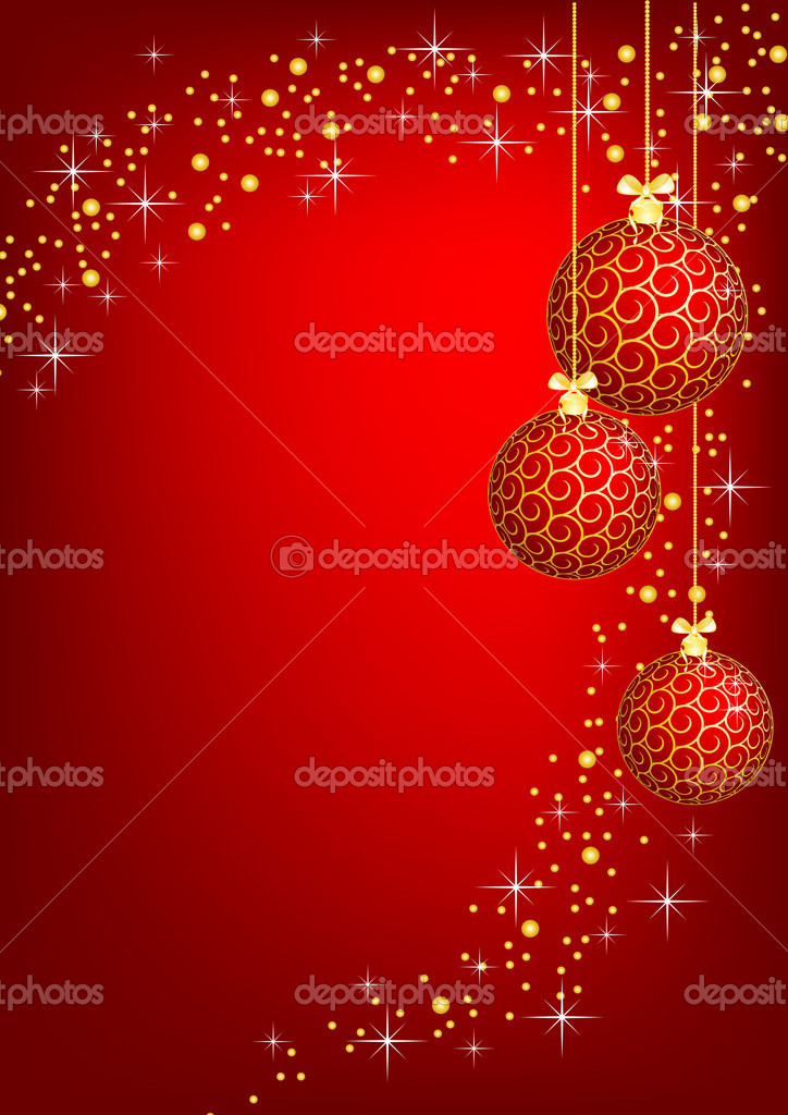 Christmas - new year shine card with golden balls — Stock Photo #1178427