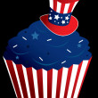 Red white and blue cupcake - Stock Vector