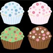 Royalty-Free Stock Vectorielle: Button cupcakes