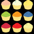 Stock Vector: Bright cupcake variations