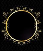 Gold circular floral frame — Stock Vector