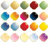 Piedras preciosas lisas con cierre de oro — Vector de stock