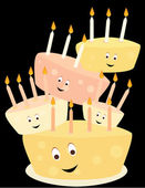 Happy birthday cake stack — Stock Vector