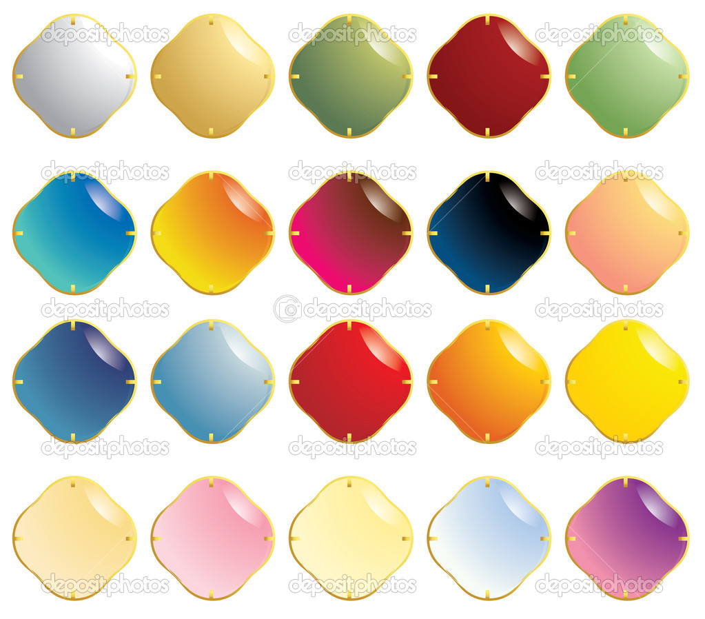 smooth gemstones with gold fastener stock vector