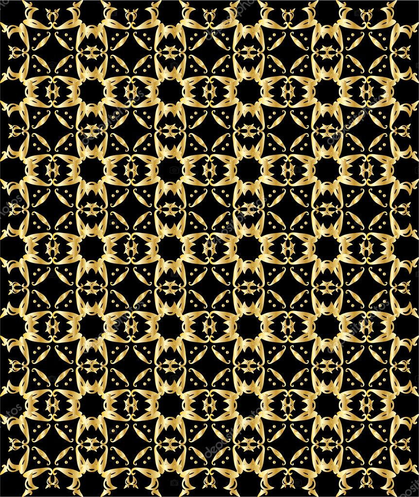 Gold pattern on black background 5 — Stock Vector © Randomway ...