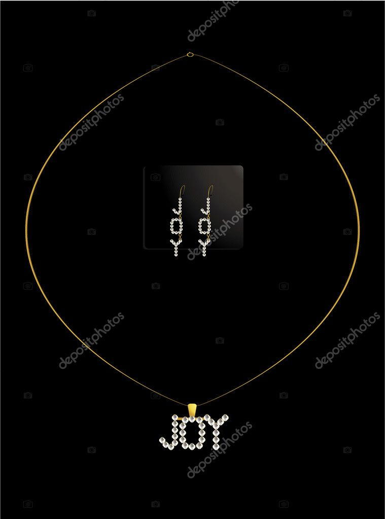 Diamond necklace spelling out joy with matching earrings — Stock Vector #2076618