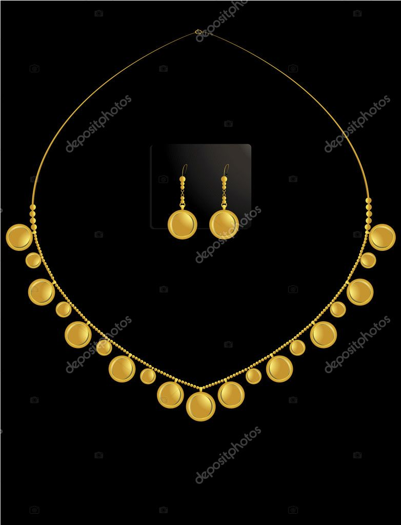 Gold coin necklace with matching earrings in set  Stock Vector #2076741