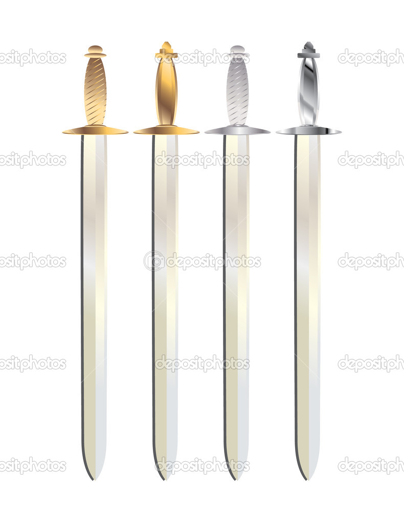 Gold and silver handled swords with gray shadows on a white background — Stock Vector #2077270