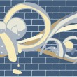 Stock Vector: Brick wall graffitti