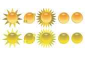 Orange sun icon buttons — Stock Vector