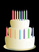 White three layer birthday cake — Stock Vector