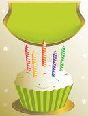 Frosted birthday cupcake with placard — Stock Vector