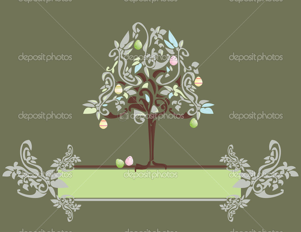 Abstract Easter egg tree banner with floral elements  Vektorgrafik #2144788