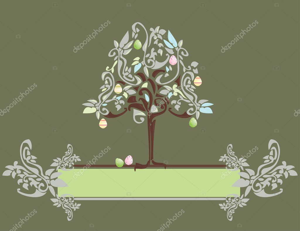 Abstract Easter egg tree banner with floral elements — Stock Vector #2144788