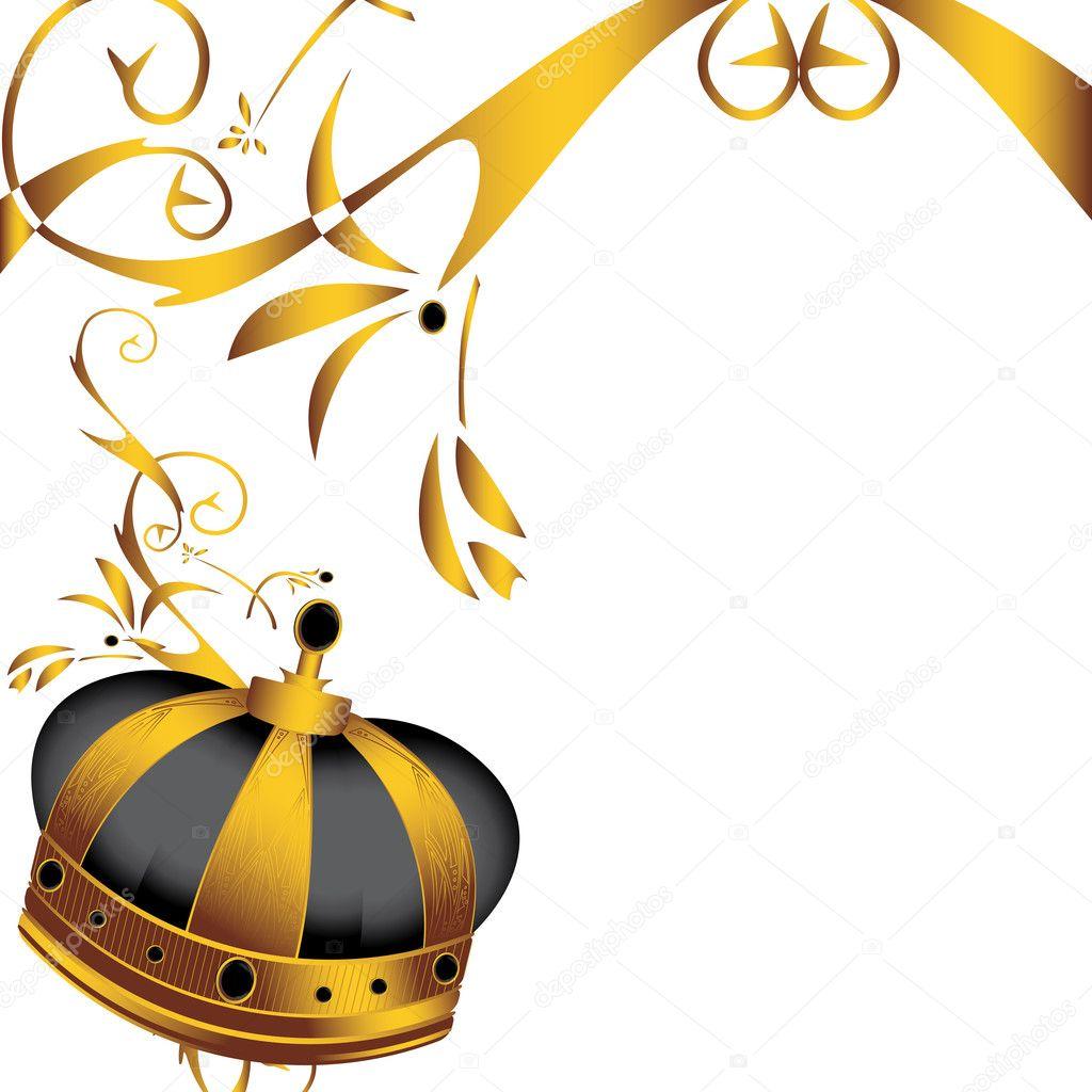 金皇冠和孤立的白色背景上的装饰— vector by randomway