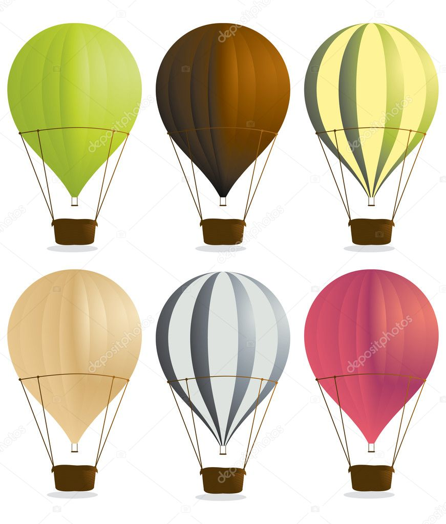Hot air balloons isolated on a white background — Image vectorielle #2144992