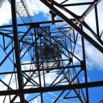 Under high voltage tower — Stock Photo