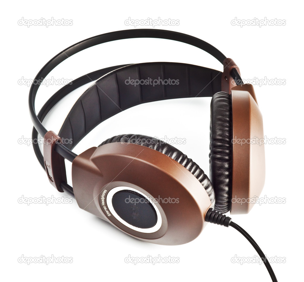 Black and brown stereo headphones isolated on white  Stock Photo #1049129