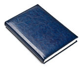 Closed blue leather notebook — Stock Photo