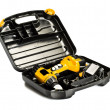 Toolbox with yellow drill set — Stock Photo