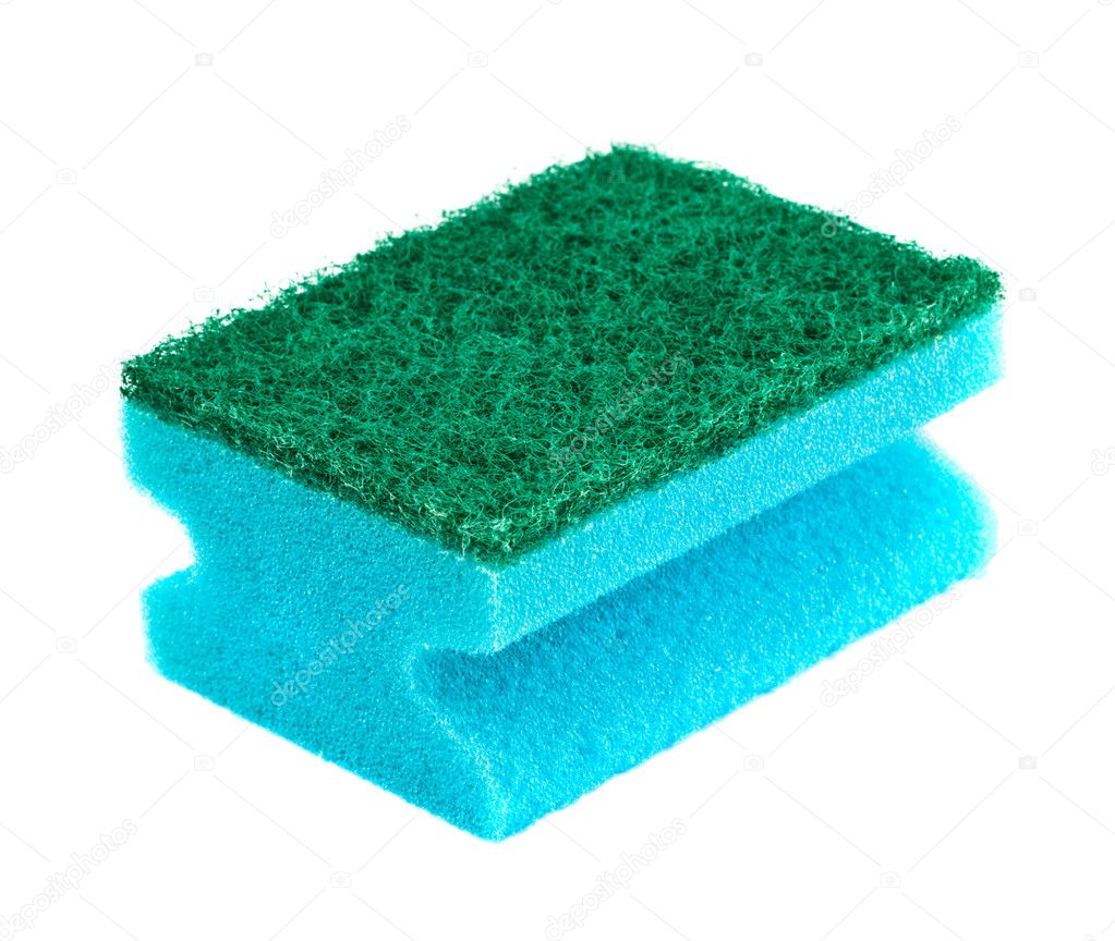 Blue and green sponge isolated on white — Stock Photo #1393743