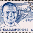 Stock Photo: Postage stamp first russispaceman