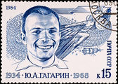 Postage stamp first russian spaceman — Stock Photo