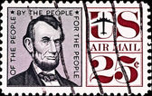 Postage stamp with USA president Lincoln — Stock Photo