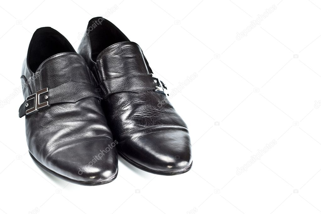 Black male shoes with buckles isolated on white — Stock Photo #1423428
