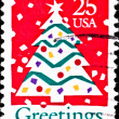 Usa postage stamp shows christmas tree — Stock Photo