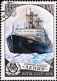 Postage stamp shows atomic icebreaker — Stock Photo
