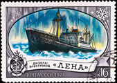"Postage stamp with ship ""Lena"" — Stock Photo"