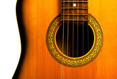 Acoustic guitar central part — Stock Photo