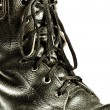 Old army style boot closeup — Stock Photo