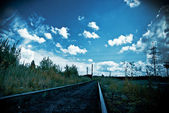 Industrial landscape with railway — Stock Photo